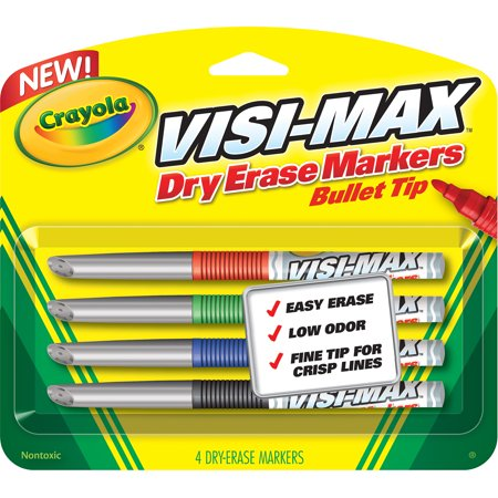 Crayola Visi Max Dry Erase Fine Line Markers  4 Count