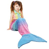"Mermaid Tail Blanket, Plush Flannel Blanket for Teen Child Kids, Soft Warm Fuzzy Micro Fleece All Season Sleeping Blanket 61"" x 19""  by Catalonia"