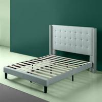 Deals on Zinus Kendra 51-inch Upholstered Grand Wingback Platform Bed
