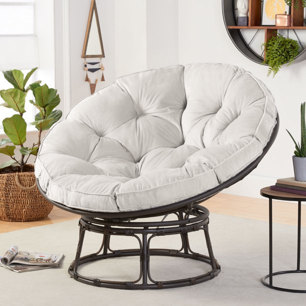 Better Homes & Gardens Papasan Chair with Fabric Cushion, Pumice Gray
