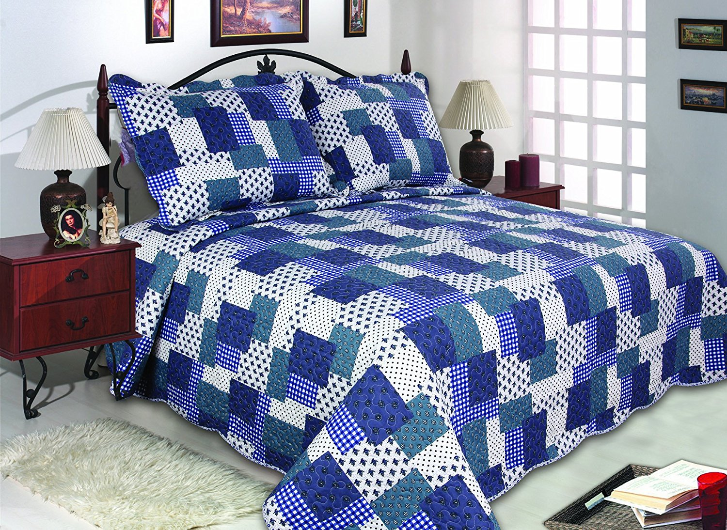 All for You 3pc Reversible Quilt Set, Bedspread, and Coverlet with Flower Prints-3... by All For You Home