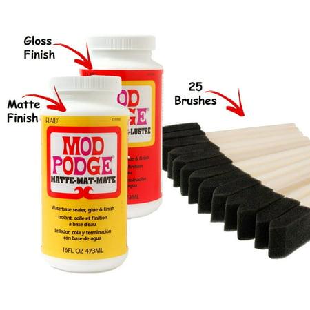 Mod Podge Original 16 oz Glue, Matte Finish and 16 oz Gloss Finish. Including 25 1