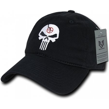 RapDom Punisher Skull Graphic Relaxed Mens Cap [Black - Adjustable]