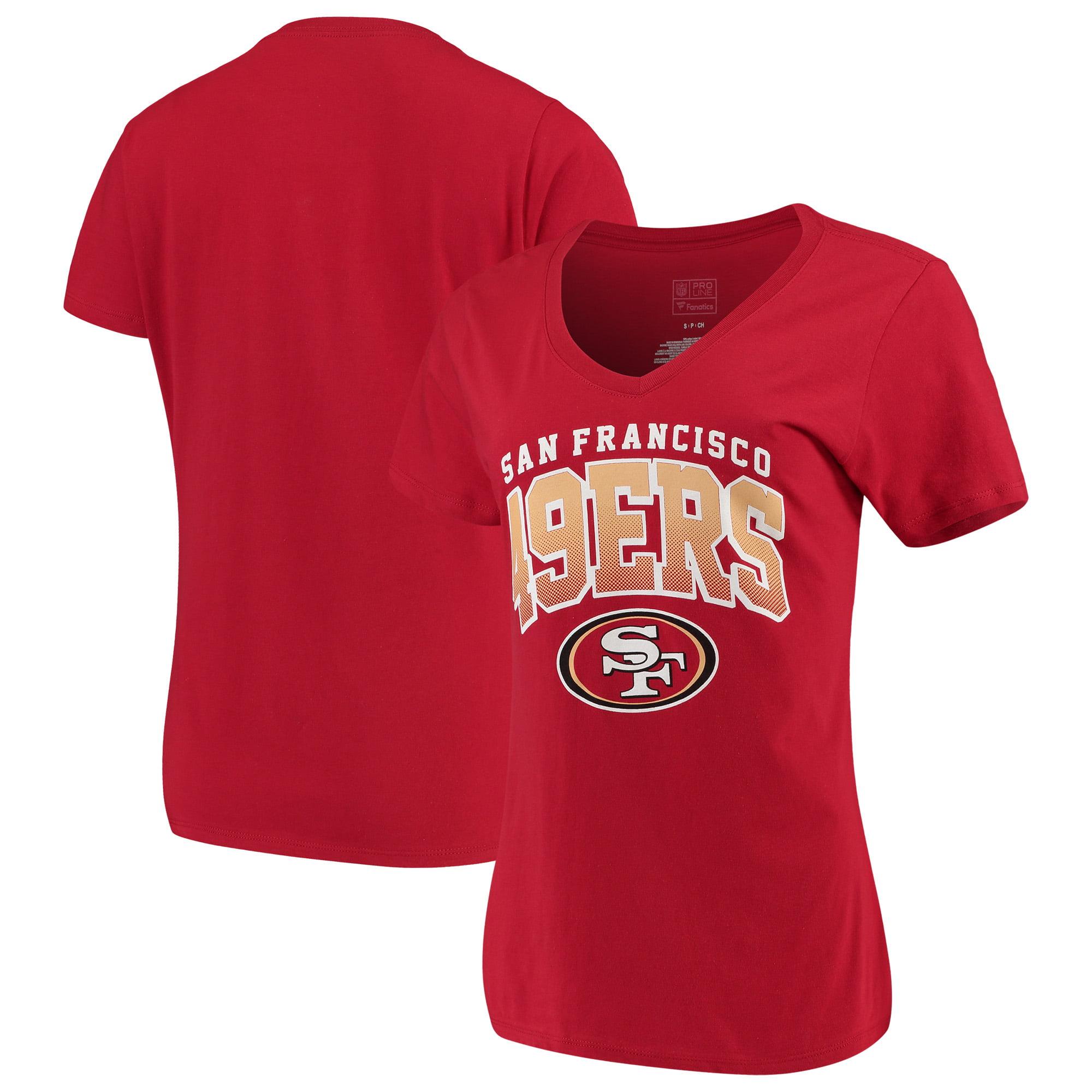 Women's Fanatics Branded Scarlet San Francisco 49ers Faded Arch V-Neck T-Shirt