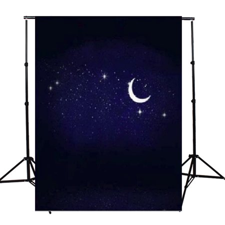 3ft x 5ft Night Sky Stars Moon Camera & Screen Background Studio Video Photo Vinyl Fabric Photography Backdrops Props](Full Moon Background)