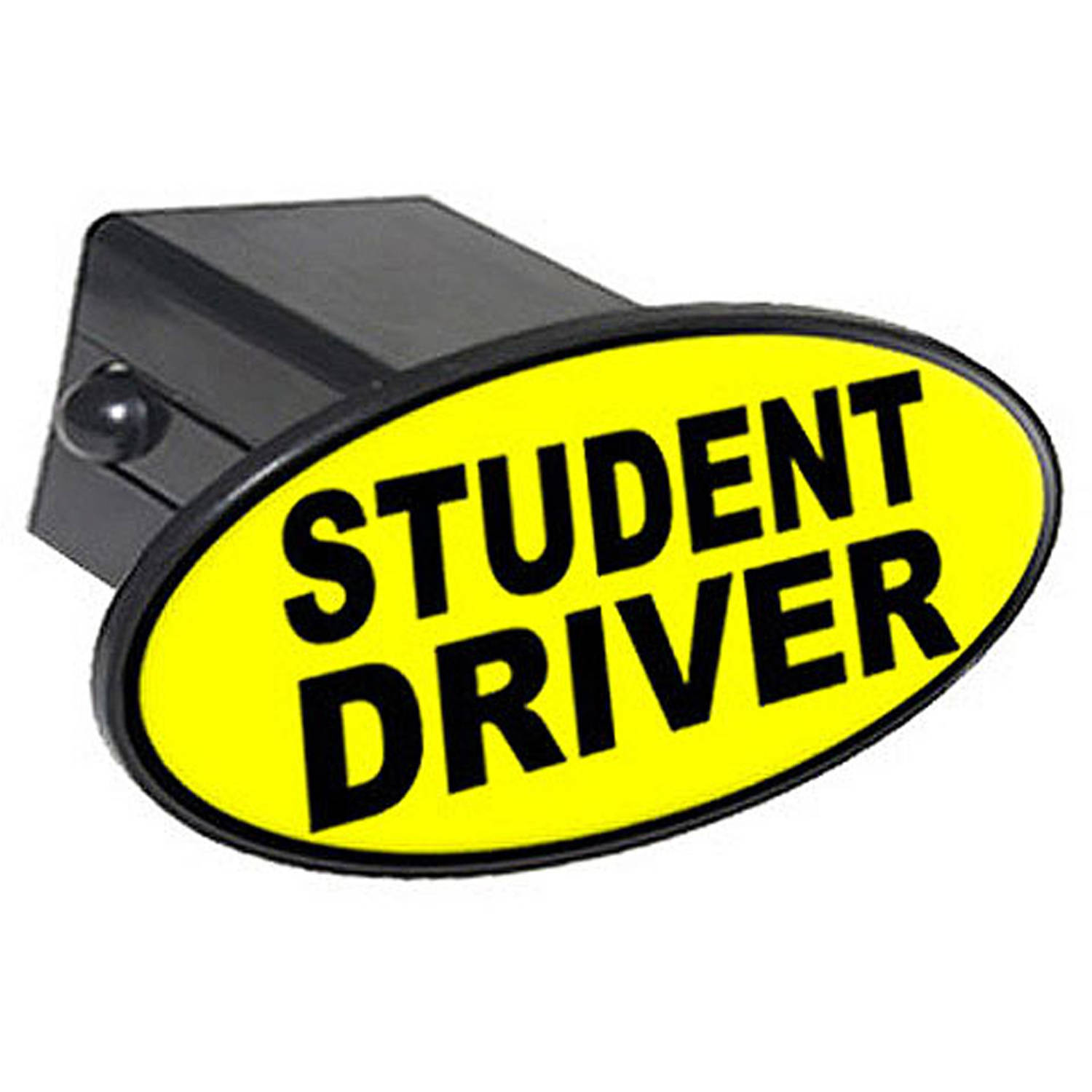 "Student Driver - Yellow 2"" Oval Tow Trailer Hitch Cover Plug Insert"