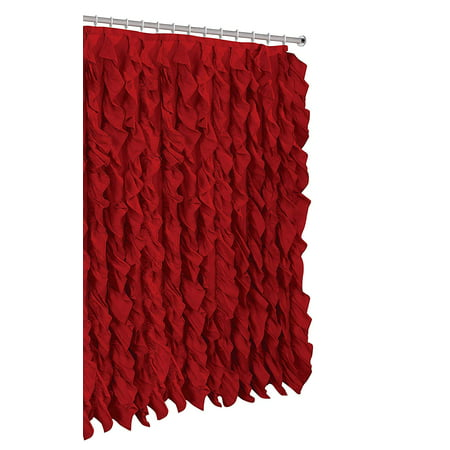 Waterfall Shabby Chic Ruffled Fabric Shower Curtain (red) ()