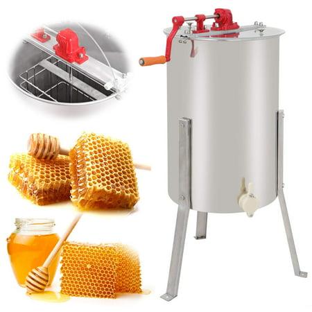 (Zeny Pro 2 Frame Stainless Steel Manual Crank Bee Honey Extractor Honeycomb Spinner Drum, Heavy Duty Beekeeping Equipment Commercial)