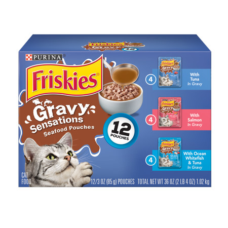 Pet Web (Friskies Gravy Wet Cat Food Variety Pack, Gravy Sensations Seafood Pouches - (12) 3 oz.)