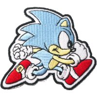 Sonic the hedgehog 8cm x 7.5cm Logo Sew Ironed On Badge Embroidery Applique Patch