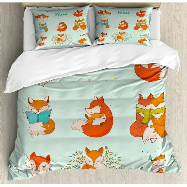 Fox Duvet Cover Set Queen Size Lovely, Fox Bedding Set