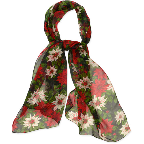 Holiday Vintage Pointsetta Wrap Scarf