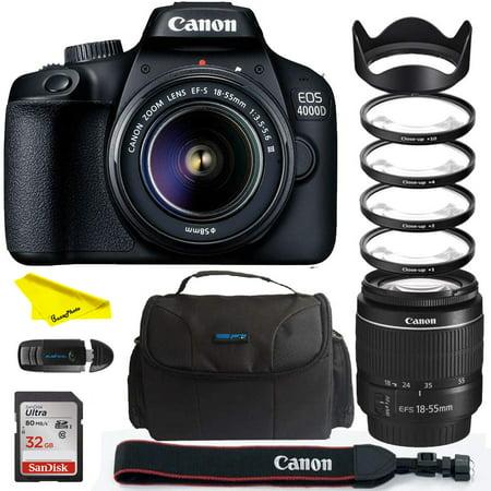 Canon EOS 4000D DSLR Camera EF-S 18-55 mm f/3.5-5.6 III Lens + Buzz-Photo Close up Lens Kit