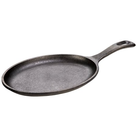 LOS3 Cast Iron Oval Serving Griddle, Seasoned with oil for a natural, easy-release finish that improves with use By Lodge
