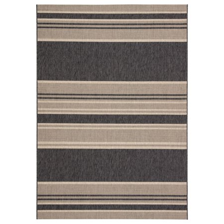 Image of 7.8' x 10.8' Gray and Beige Striped Outdoor Rectangular Area Throw Rug