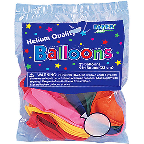 9'' Round Helium Quality Balloons - 25-Pack, Assorted Colors