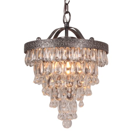 Halen Elton Home  2-light Vintage Cone Shape glass crystal drop antique silver round Chandelier pendant Cone Glass Pendant
