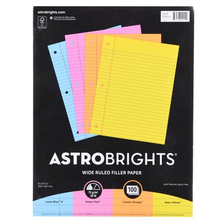 Astrobrights Wide Ruled Color Filler Paper, 8.5