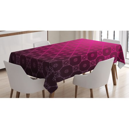 Magenta Decor Tablecloth Meval Style Endless Bound Square Shaped Stripe Middle Age Damask Motif