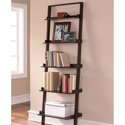 Mainstays Leaning Ladder 5-Shelf Bookcase, Espresso