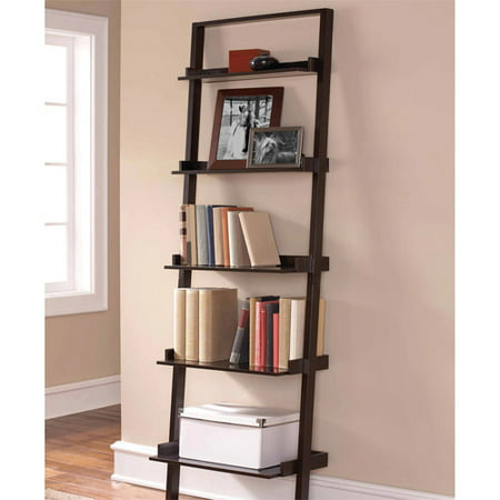 Mainstays Leaning Ladder Shelf Bookcase Espresso Walmartcom - Bookshelves walmart
