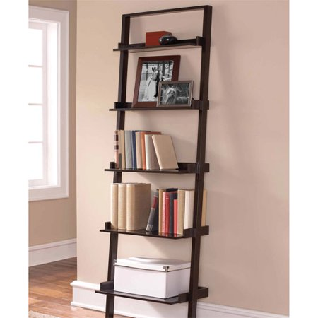 Mainstays Leaning Ladder 5-Shelf Bookcase, Espresso