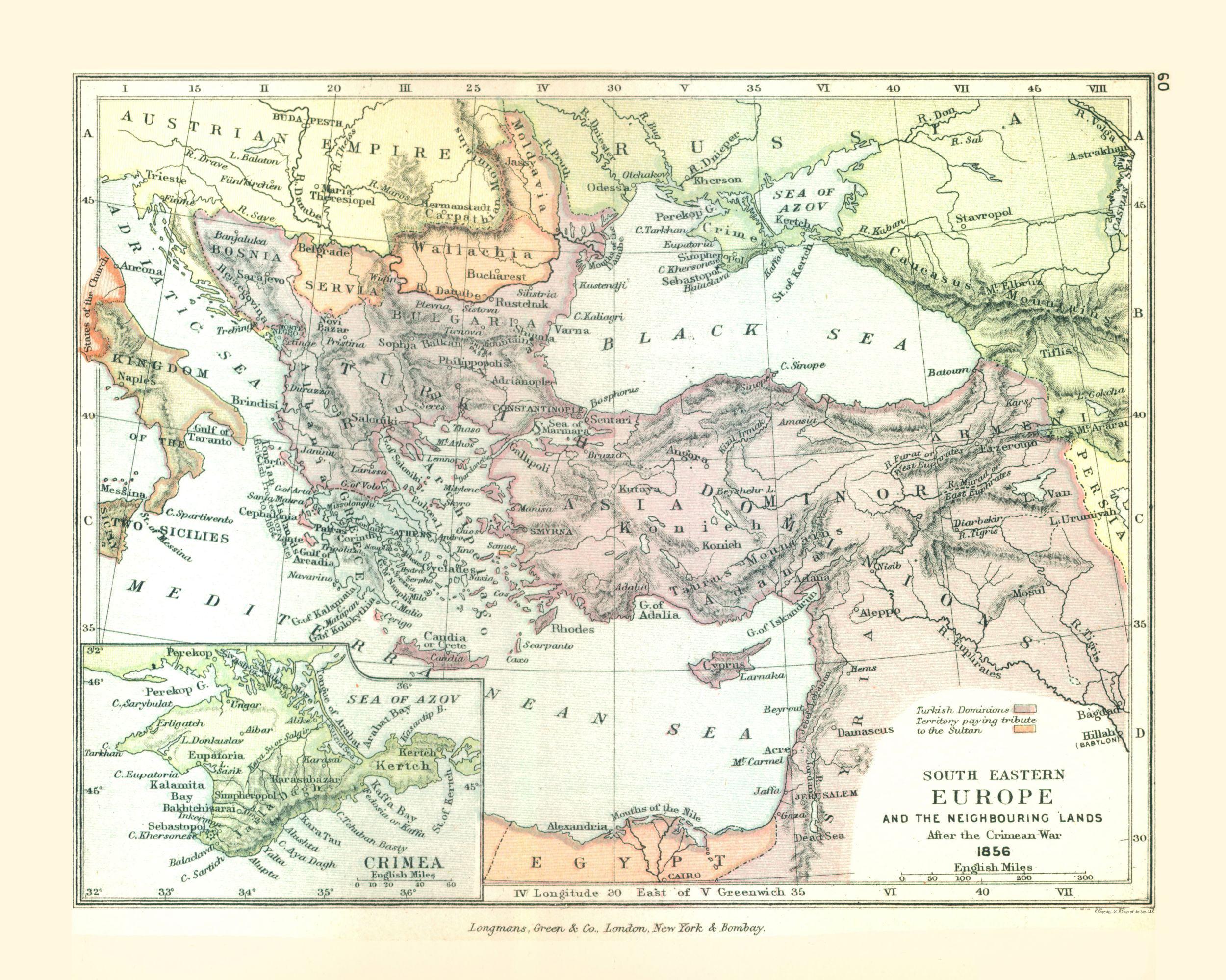 Picture of: Old Europe Map Southeastern Europe In 1856 Gardiner 1902 23 X 38 74 Walmart Com Walmart Com