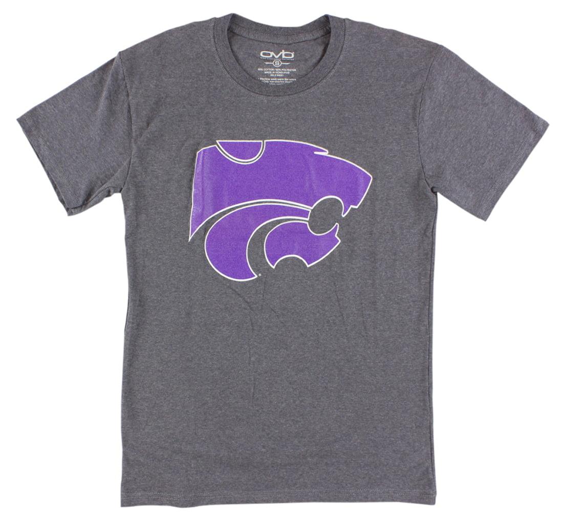 Old Varsity Mens Kansas State Wildcats College Medium Logo Dual T Shirt Grey