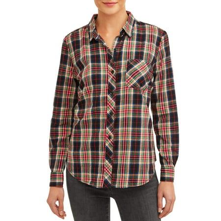 Womens Woven Plaid Shirt