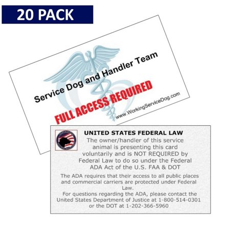 Service Dog Cards - 20 ADA Service Dog Information Handout Cards. State your right to be accompanied by your Service Dog - Minimize (Certify Your Dog As A Service Dog)