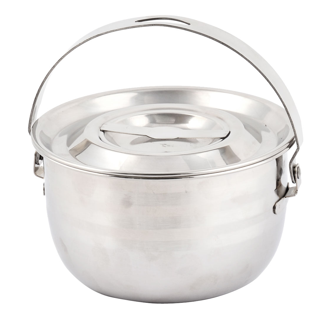 Restaurant Kitchen Stainless Steel Cooking Lidded Milk Soup Pot Pan 16.3cm Dia