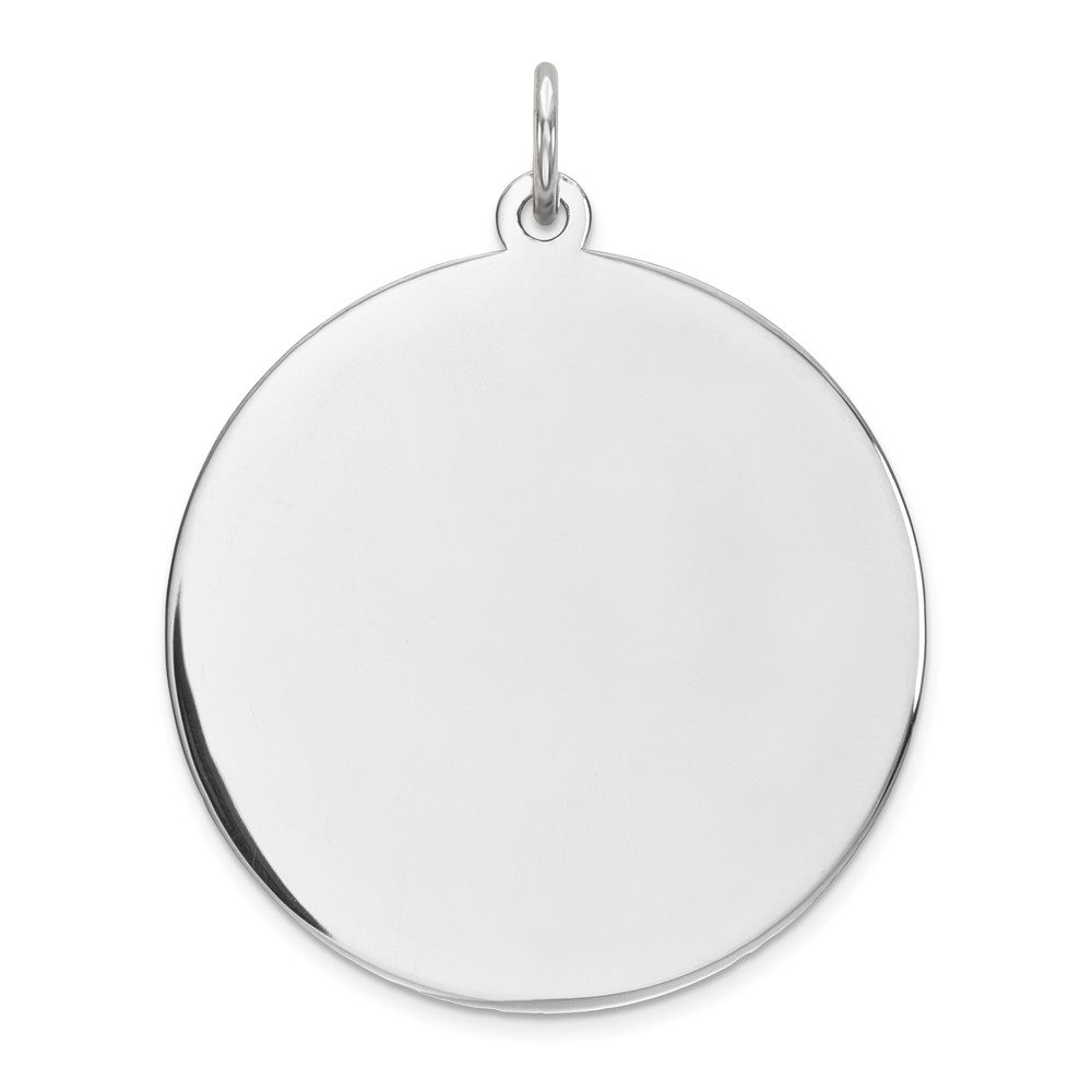 Solid 925 Sterling Silver Engravable Front//Back Disc Charm Brushed Matte Finish Pendant 36mm x 24mm