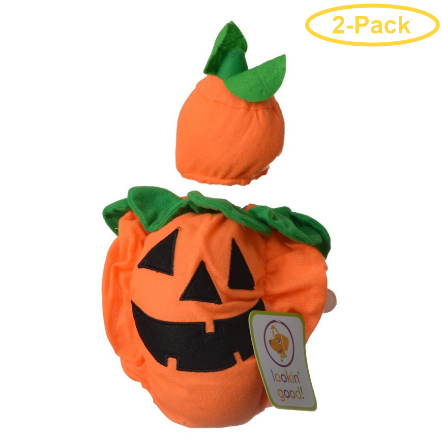 Lookin' Good Pumpkin Dog Costume Small - (Fits 10-14 Neck to Tail) - Pack of 2