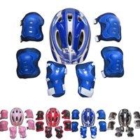 Boy Girls 7PCS Skating Bike Protective Gear Safety Helmet Knee Elbow Pad Set