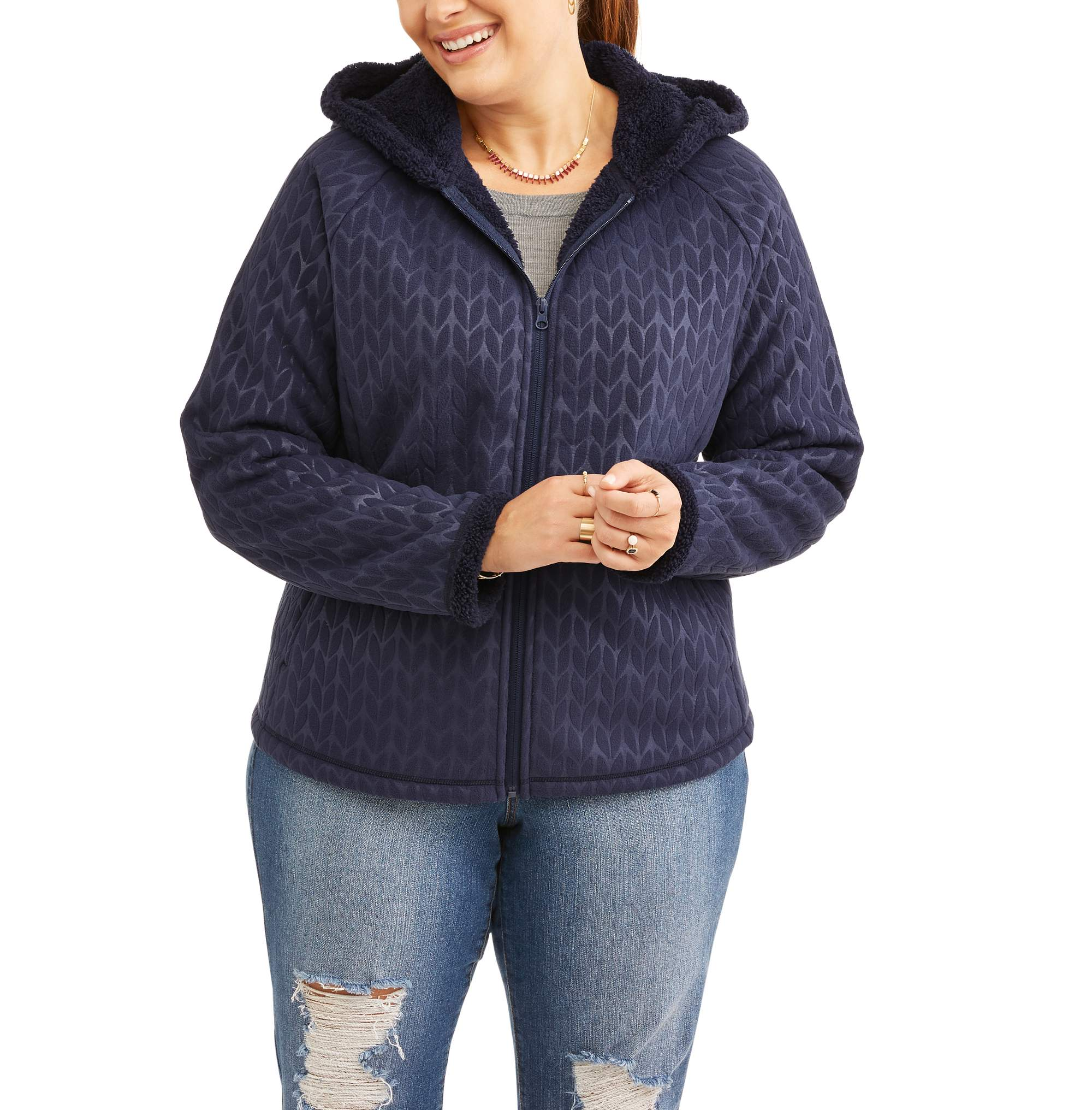 Women's Plus-Size Microfleece Hoodie With Cozy Sherpa Lining
