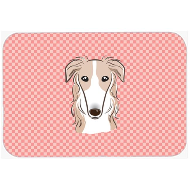 Checkerboard Blue Borzoi Mouse Pad, Hot Pad Or Trivet, 7.75 x 9.25 In.