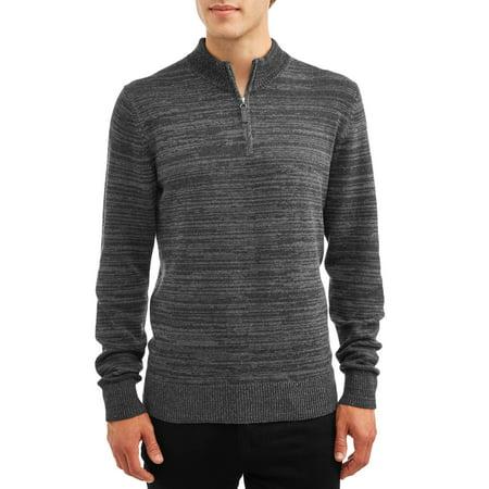 George Men's Quarter Zip Sweater, up to Size 5XL (Mens Sweater Quarter Zip)