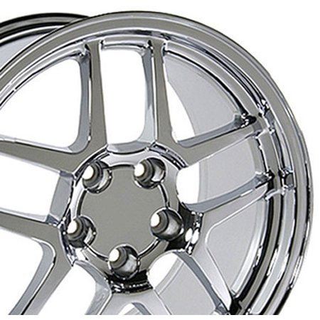 C5 Z06 Rims - 17x9.5 Wheel Fits Corvette, Camaro - C5 Z06 Style Chrome Rim, Hollander 5146