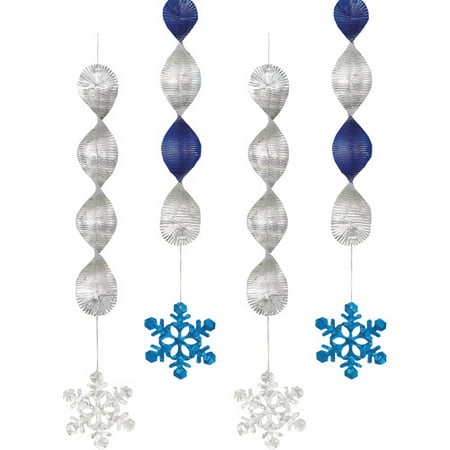 Foil Snowflake Holiday Hanging Decorations, 18 in, Blue and Silver, 4ct - Snowflake Hanging Decorations