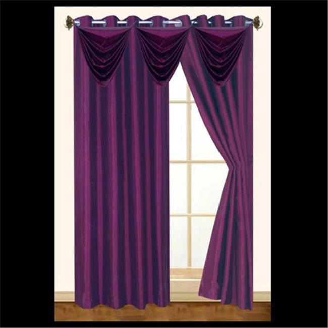 Editex 627VAL3710 Elaine Waterfall Faux Silk Valance with 2 Grommets without Trim in Black