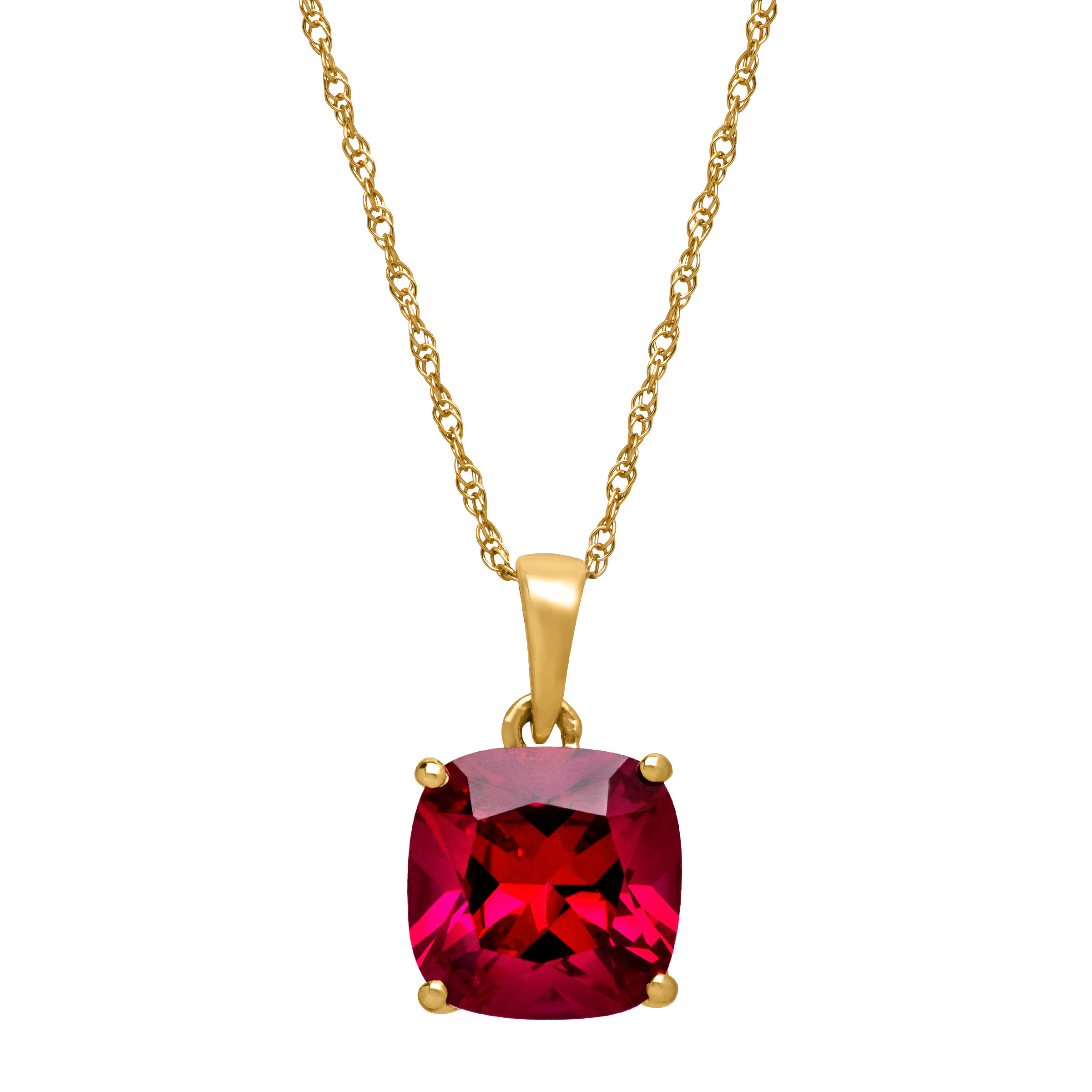 """2 7 8 ct Cushion-Cut Created Ruby Solitaire Pendant Necklace in 14kt Yellow Gold, 18"""" by Richline Group"""