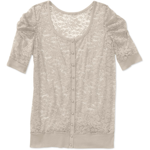 Womens Plus-Size Lace Button-Front Cardigan