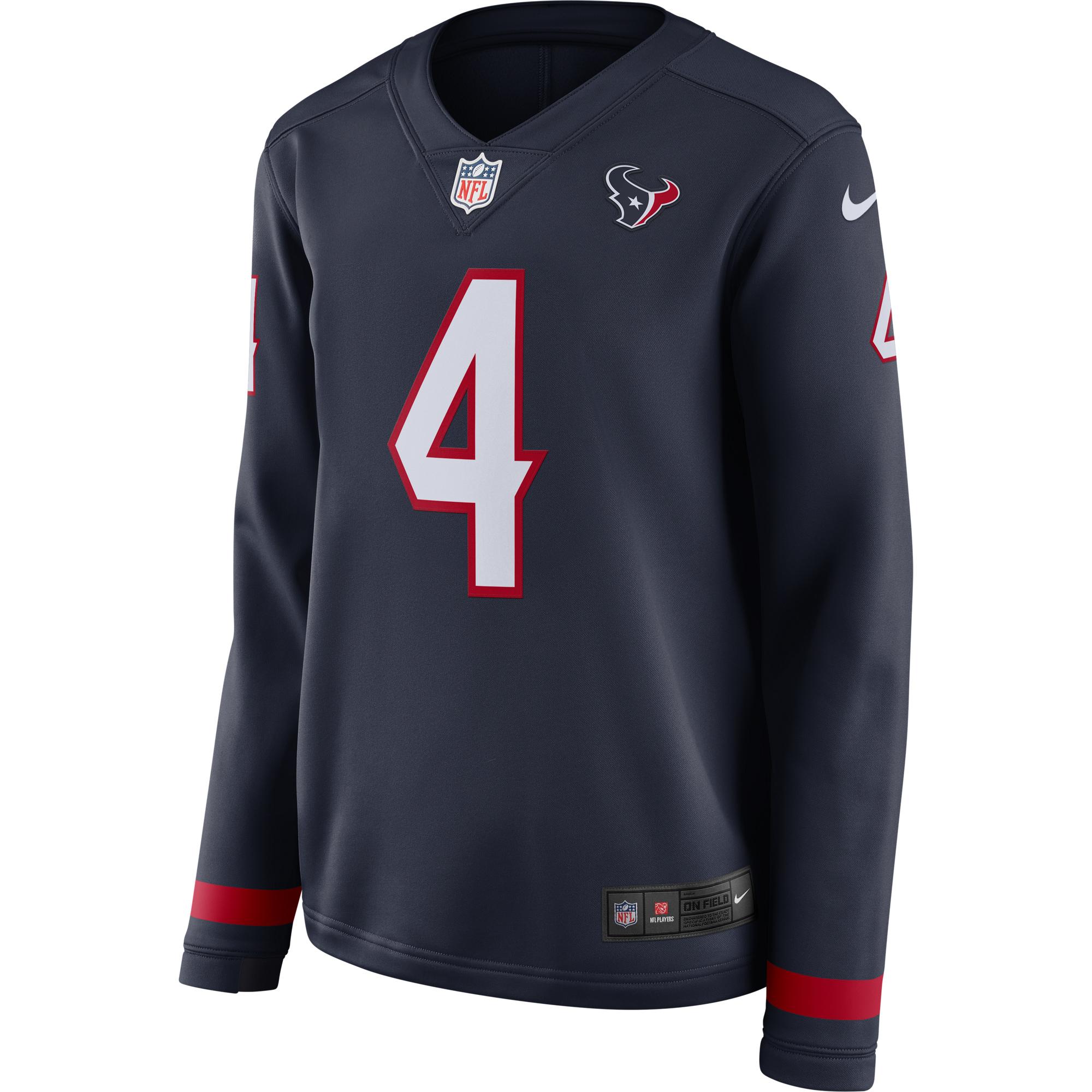 detailing be484 0c1e1 Deshaun Watson Houston Texans Nike Women's Therma Long Sleeve Jersey - Navy