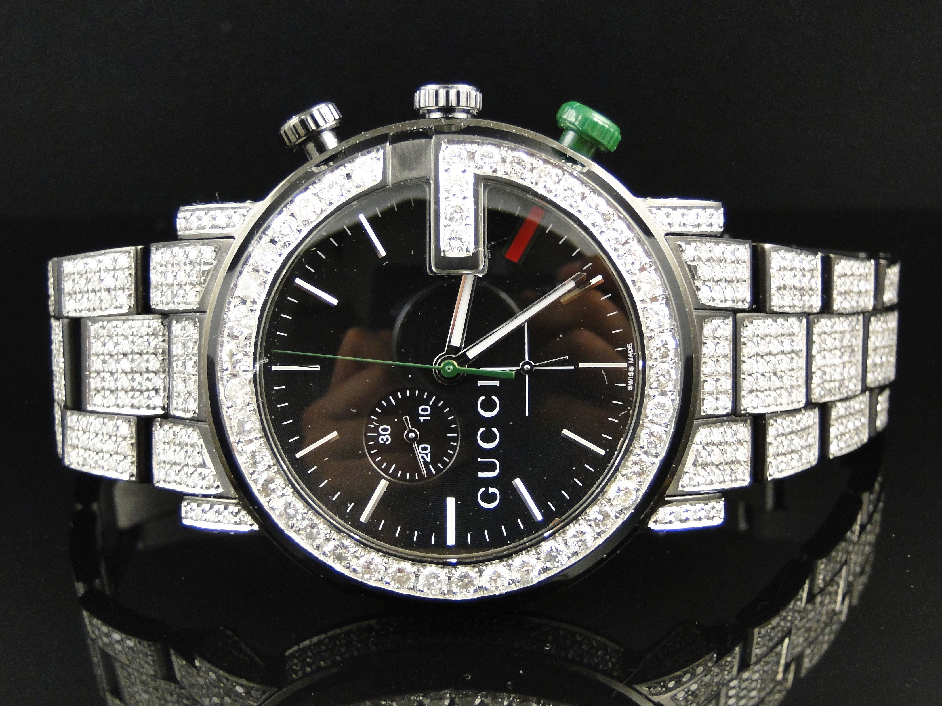 0726cedeeff Gucci - Gucci Mens Fully Iced Out Diamond Gucci Watch 12 Ct - Walmart.com