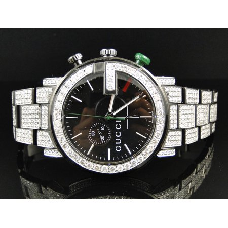 Gucci Mens Fully Iced Out Diamond Gucci Watch 12 Ct
