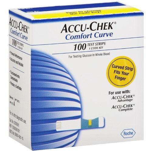 Accu Chek Comfort Curve Blood Glucose Test Strips 100ct