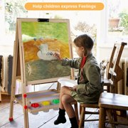 HURRISE Double-sided Magnetic Lifting All-in-One Wooden Kid's Art Easel with Paper Roll and Accessories
