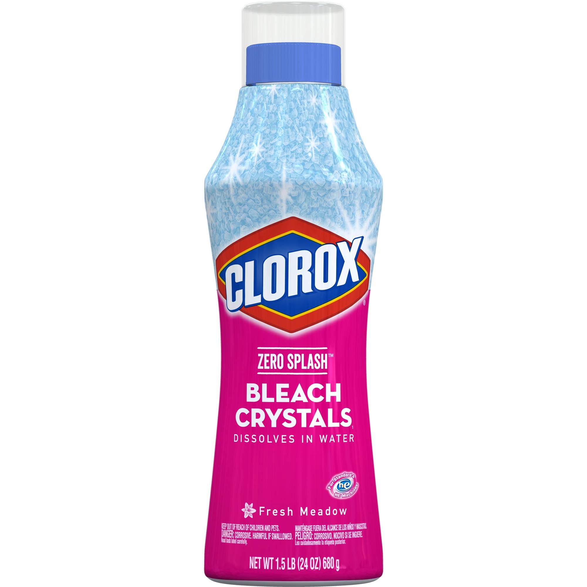 Clorox Zero Splash Bleach Crystals, Fresh Meadow, 24 oz