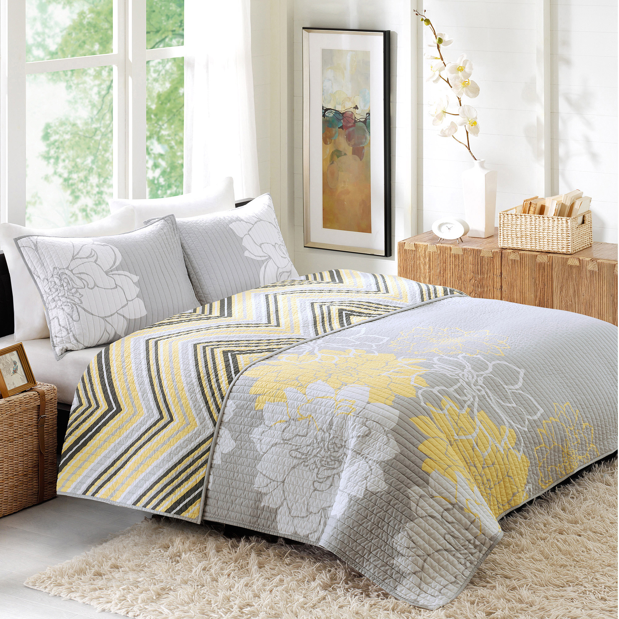 Better Homes And Gardens Quilt Collection Yellow Floral Walmart Com