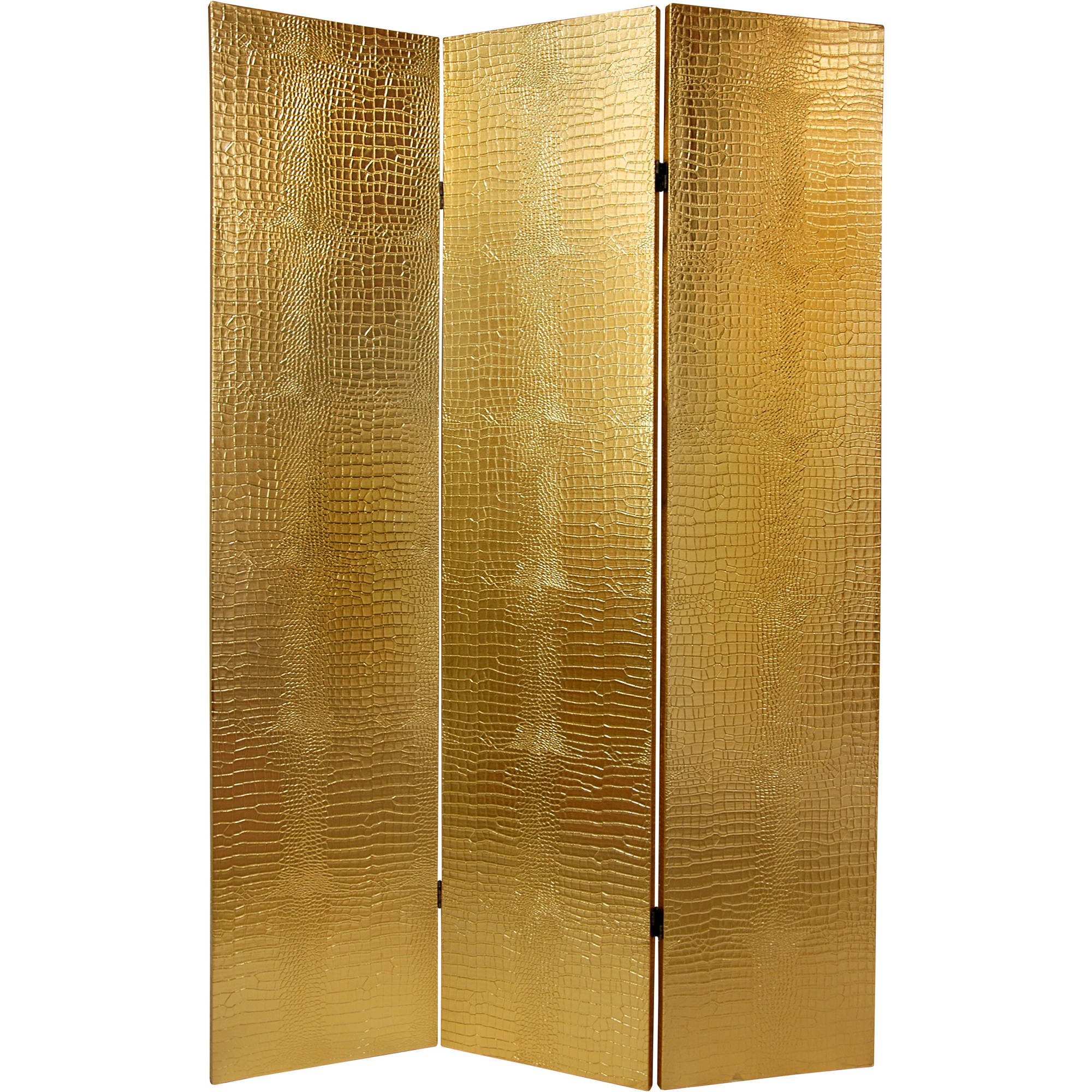 6' Faux Leather Gold Crocodile Room Divider
